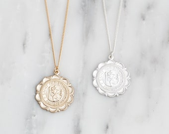Dainty Gold Coin Necklace / Gold Filled St Christopher Necklace / Traveler's Necklace / Gold Medallion Necklace/Saint Christopher Protect Us