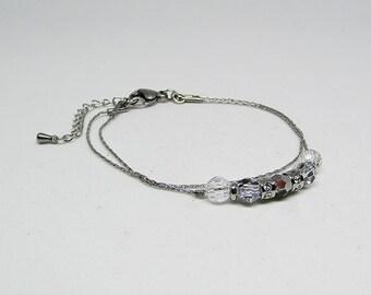 Delicate bracelet - Swarovski Crystal - stainless steel - ELEGANT