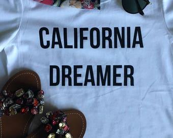 California Dreamer Girl Power T-Shirt Black and White Short Sleeves Feminist Girl Power Message Women's T-Shirt