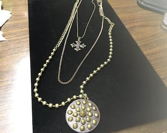 Vintage Multi Strand Necklace, Beads, Chains, Pendants
