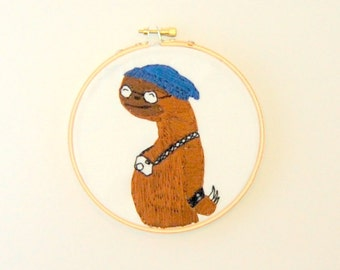 Hipster Sloth Hoop Art - Hand Embroidered Sloth Wall Hanging - SLoth with Slouchy hat round glasses leather cuff and a camera
