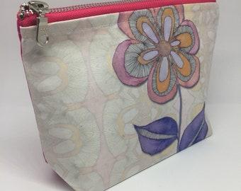 Zipper fabric pouch, large toiletry bag, boho cosmetic bag, makeup bag uk, large cosmetic pouch, makeup bag large, large makeup bag
