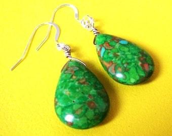 VIBRANT LIFE semi-precious stone earrings.  All sterling silver parts.  Funky green gemstone earrings.