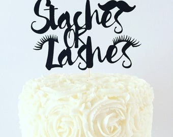 Staches or Lashes Cake Topper / Baby Shower / Gender Reveal