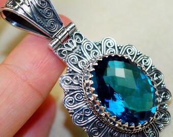 Dazzling Blue Quartz & 925 Sterling Silver Pendant