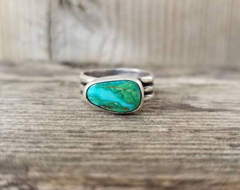 Handmade Turquoise Mountain Turquoise Ripple Ring, Sterling Silver Turquoise Statement Ring