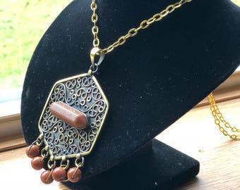 Unique copper Necklace with a brown stone