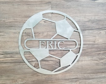 Soccer Ball With Name (Home Decor,Sports, Wall Art, Metal Art, {Can Be Personalized})