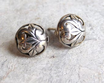 Vintage Sterling Silver Pierced Work Earrings - Hand-Crafted, Artisan Made, Art Nouveau Style - Small, Understated Round Studs - Pierced