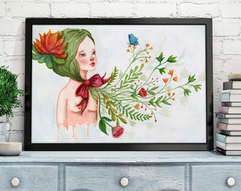 BLOOMING OF ISABEL - Wild blooms, butterflies, roses, poppies and the feminine naked figure bloom on an original watercolor poster by Danita