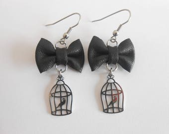 Earrings stainless steel with leather knots