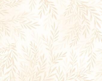 Tonal Leaves - Cream 8140-E by Maywood Studio Cotton Fabric Yardage