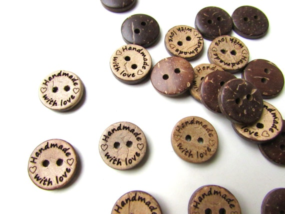 20 Handmade with Love coconut sewing buttons 15 mm  Small handmade buttons  Buttons for handknits and handsewn clothes  Scrapbooking buttons