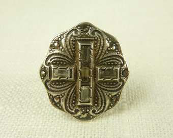 Size 3.5 Antique Art Deco Sterling Marcasite Paste and Rhinestone Cross Ring