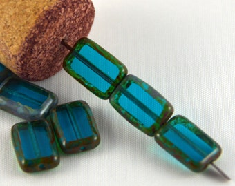 Czech Glass Beads Teal Picasso 8x12mm- 10 beads