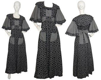 Gina Fratini 1970s Vintage Boho Maxi Peasant Dress Black White Floral Print Ruffles Angel Sleeves US Size 8 Medium