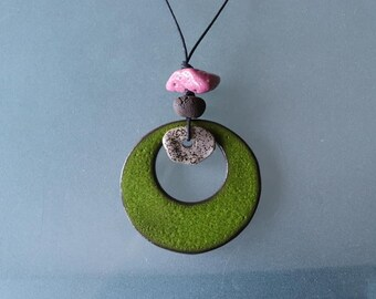 Pink and green ceramic handmade necklace