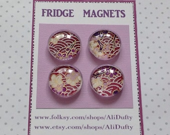 FRIDGE MAGNETS ( set of 4 ) . Clear glass cabochon. 'Purple Mix'  . Yuzen / chiyogami . UK seller... ready to ship....