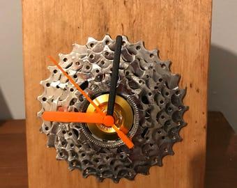 Upcycled bicycle cog desk clock. Bespoke