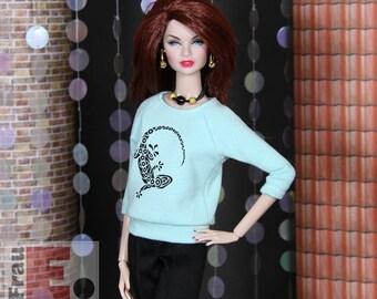 """Fashion Doll Sweater """"Gecko"""" - hellblau"""