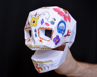 Skull Puppet - Make it Yourself with just Paper and Glue! Dia de Los Muertos Fun   Hand Puppet   Kids Craft Project   Sugar Skull   Calavera
