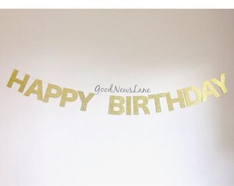 Happy Birthday Banner, Gold glitter banner, Birthday Party Banner