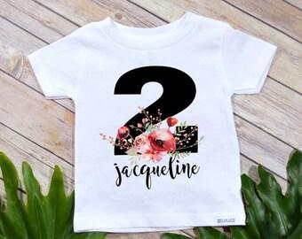 Second Birthday, Floral Birthday, Girl Birthday Shirt, Personalized Birthday, 2nd Birthday, Girl Birthday set, Boho Birthday, I am Two, 2nd