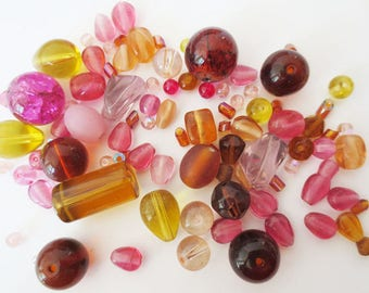 50gr assortment amber pink glass beads
