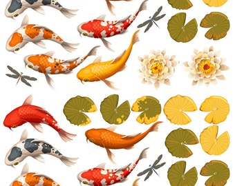 Koi Pond ~ 48506 ~ Ceramic Decal - Glass Decal ~LEAD FREE & Food Safe ~ Enamel Decal ~ Waterslide Decal