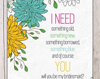 digital printable 'be in my wedding' invitation · be a bridesmaid invitation · will you be in my wedding invitation