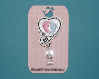 RN Labor and Delivery Badge Reel, Labor and Delivery Nurse Badge Holder
