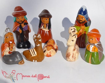The crib of the Andes, Peruvian nursery looking ceramic Cuzco crèche, Nativity creche