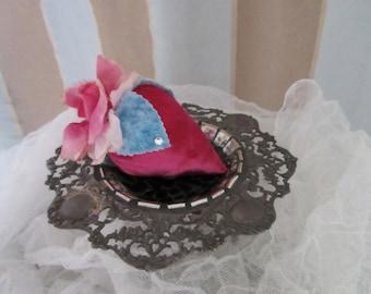 Strawberry Pincushion, Pink Silk Velvet, Vintage Flower, Millinery, Swarovski Rhinestones