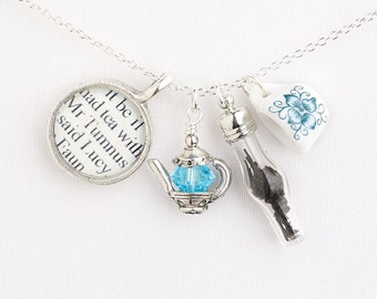 Narnia Jewelry / Narnia Tea Necklace / Narnia Necklace / Chronicles of Narnia / The Lion, The Witch, and the Wardrobe / Book Lover Gifts