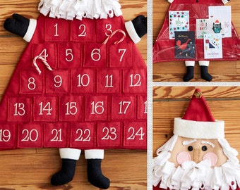 Clearance PATTERN SANTA ADVENT Calendar and Santa Card Holder 2 patterns in 1  We combine shipping