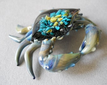 Blue Crab Sculpture Sea Anemone crab shell