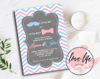 Gender Reveal Invitation | Pink Bow and Blue Mustache Gender Reveal Invitation | Team Pink and Team Blue | Mustaches and Bows | Reveal Party