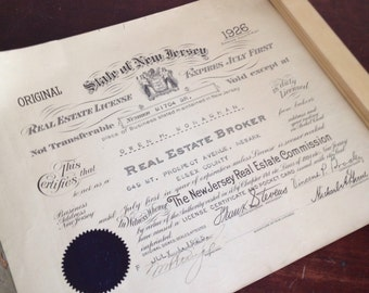 Antique 1926 New Jersey Real Estate License. Office Wall Decor. Paper Ephemera.