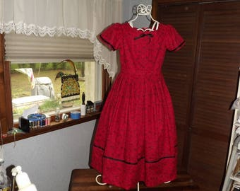 Girls Size 10 Civil War Dress Red Flower Print Reenacting Dress