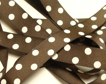 """7/8"""" Dotted Grosgrain Ribbon - Chocolate Brown with White Dots - 5 Yards"""