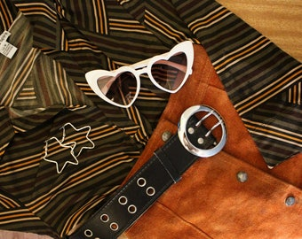 Vintage 1970's Style Striped Pattern Collared Shirt