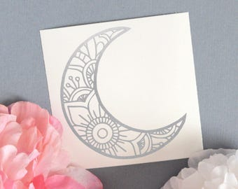 Mandala Moon Decal, Laptop Decal, Glossy Vinyl Decal, Mandala decal, Crescent Moon Decal