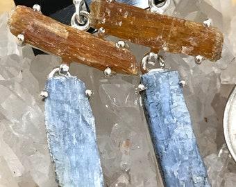 Orange and Blue Kyanite Abstract Earrings