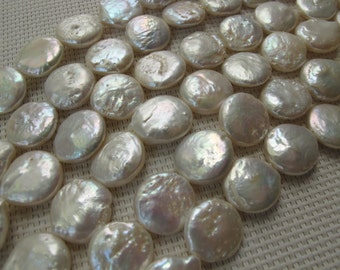 13-15mm White Freshwater Coin Pearl PL131
