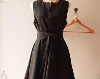 Classic Black Dress Little Black Dress Black Summer Dress, Vintage Inspired Maternity Loose Pockets Dress, XS-XL,custom