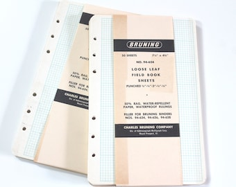 Vintage Paper Ephemera vintage Field Note graph grid paper refills Vintage Bruning Loose Leaf Field Book Sheets new pkg Aged paper supplies
