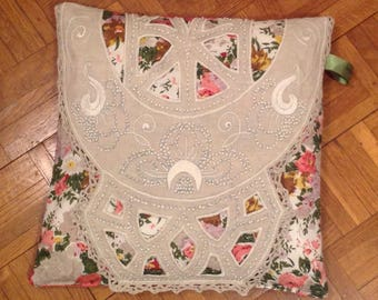 Cushion 40 x 40 doily fabric and embroidered vintage floral pink