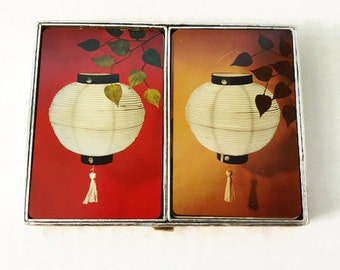 Vintage Bridge Double Deck Playing Cards Japanese Lanterns in Red and Yellow/Gold by Congress