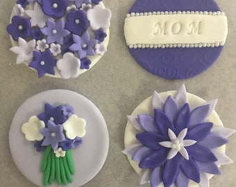 Fondant cupcake toppers mothers day birthday