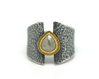 Raw Diamond Teardrop Ring